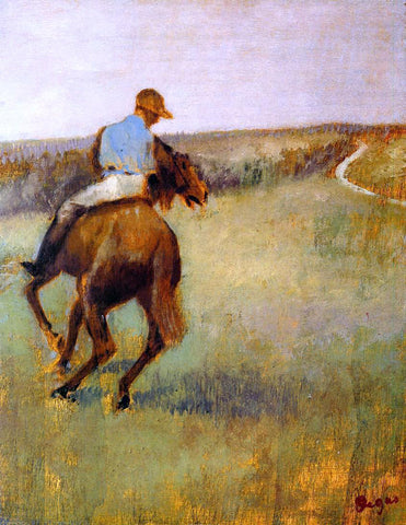 Edgar Degas Jockey in Blue on a Chestnut Horse - Hand Painted Oil Painting