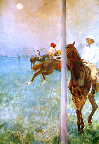 Edgar Degas Jockeys Before the Start with Flagpoll - Hand Painted Oil Painting