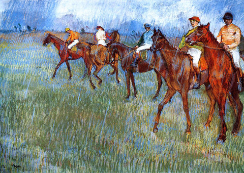 Edgar Degas Jockeys in the Rain - Hand Painted Oil Painting