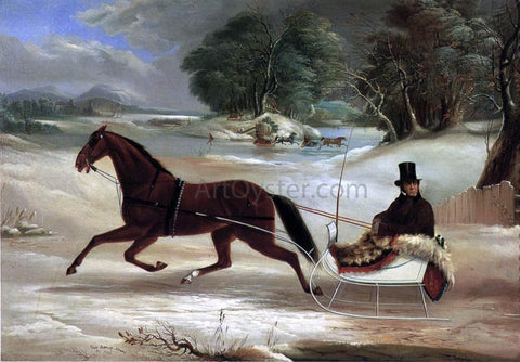 Thomas Kirby Van Zandt Judge Van Aernum in His Sleigh - Hand Painted Oil Painting