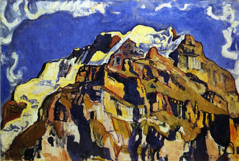 Ferdinand Hodler Jungfrau and Silverhorn, as Seen from Murren - Hand Painted Oil Painting