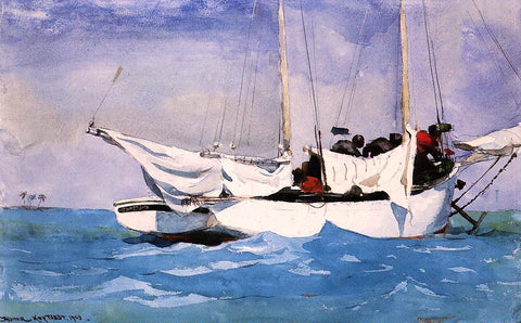 Winslow Homer Key West, Hauling Anchor - Hand Painted Oil Painting