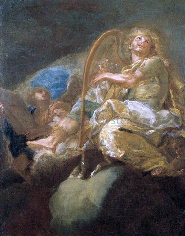 Giacomo Del Po King David Playing the Harp - Hand Painted Oil Painting