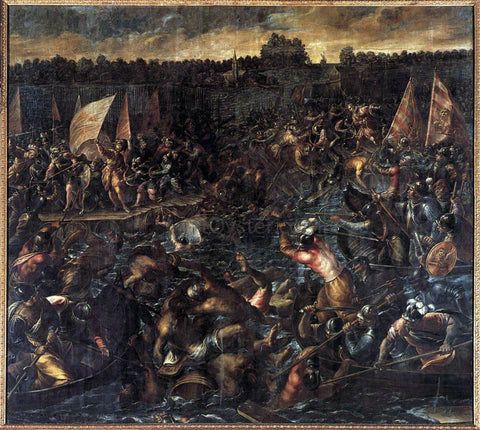 Andrea Vicentino King Pippin's Army Trying to Reach Venice - Hand Painted Oil Painting