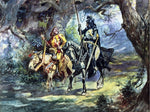 Charles Marion Russell Knight and Jester - Hand Painted Oil Painting