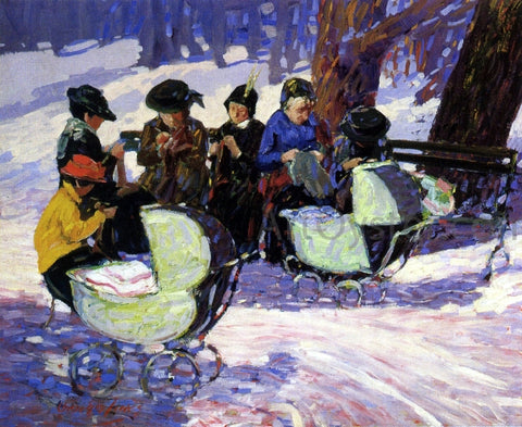 George Luks Knitting for the Soldiers: High Bridge Park - Hand Painted Oil Painting