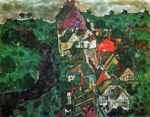 Egon Schiele Krumau Landscape (also known as Town and River) - Hand Painted Oil Painting