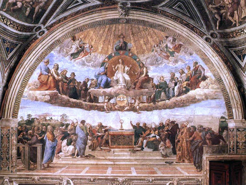 Raphael La Disputa (Stanza della Segnatura) (also known as Disputation of the Holy Sacrament) - Hand Painted Oil Painting
