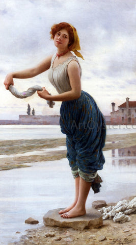 Eugene De Blaas La Lavandiere - Hand Painted Oil Painting