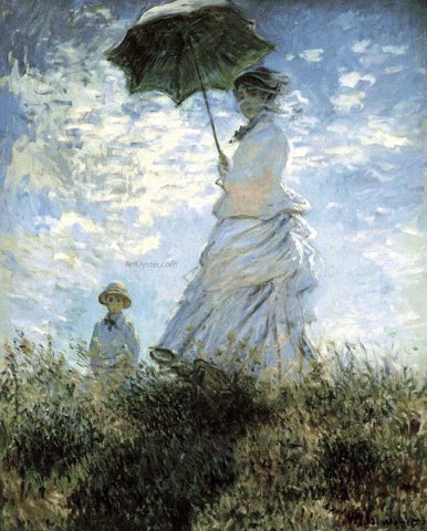 Claude Oscar Monet La Promenade - Hand Painted Oil Painting