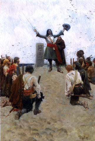 "Howard Pyle La Salle Christening the Country ""Louisiana"" - Hand Painted Oil Painting"