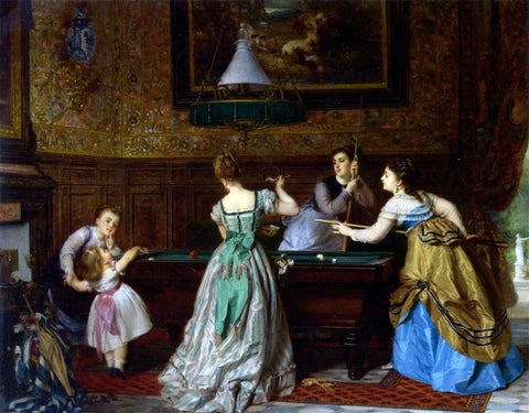 Charles Edouard Boutibonne Ladies Playing Billiards - Hand Painted Oil Painting