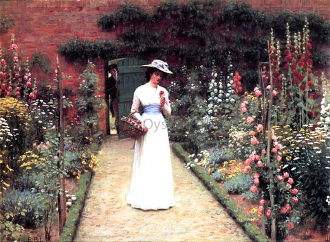Edmund Blair Leighton A Lady in a Garden - Hand Painted Oil Painting