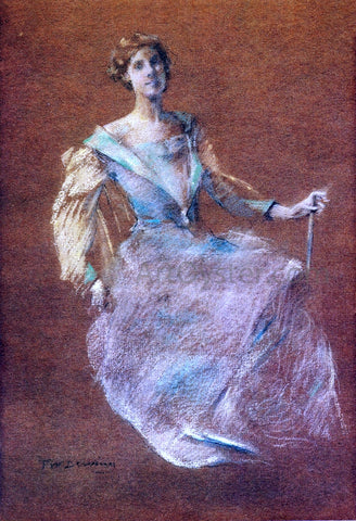 Thomas Wilmer Dewing Lady in Blue - Hand Painted Oil Painting