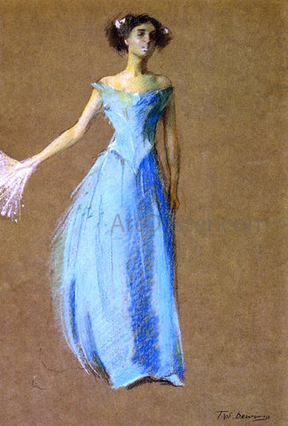Thomas Wilmer Dewing Lady in Blue, Portrait of Annie Lazarus - Hand Painted Oil Painting