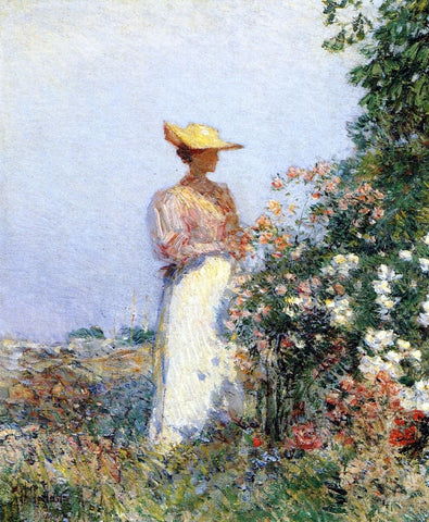 Frederick Childe Hassam Lady in Flower Garden - Hand Painted Oil Painting