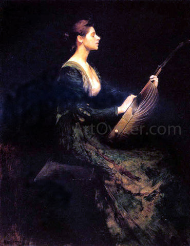 Thomas Wilmer Dewing Lady with a Lute - Hand Painted Oil Painting