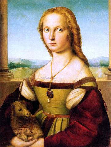 Raphael Lady with a Unicorn - Hand Painted Oil Painting