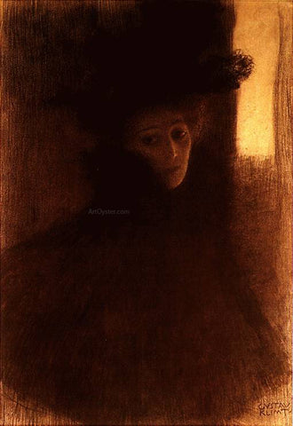 Gustav Klimt Lady with Cape and Hat - Hand Painted Oil Painting