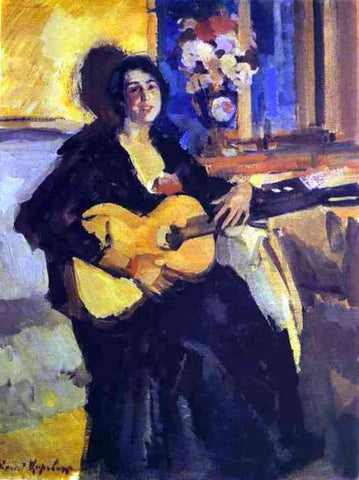 Constantin Alexeevich Korovin A Lady with Guitar - Hand Painted Oil Painting