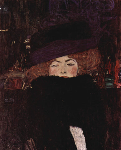 Gustav Klimt Lady with Hat and Featherboa - Hand Painted Oil Painting