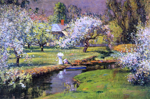 Theodore Wendel Lady with Parasol by Stream - Hand Painted Oil Painting