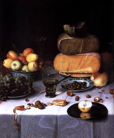 Floris Claesz Van Dijck Laid Table with Cheeses and Fruit (detail) - Hand Painted Oil Painting