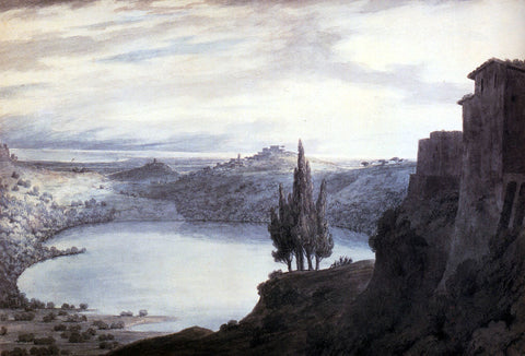 John Robert Cozens Lake Nemi, Campagna, Italy - Hand Painted Oil Painting