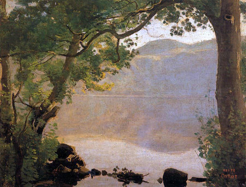 Jean-Baptiste-Camille Corot Lake Nemi, Seen through Trees - Hand Painted Oil Painting