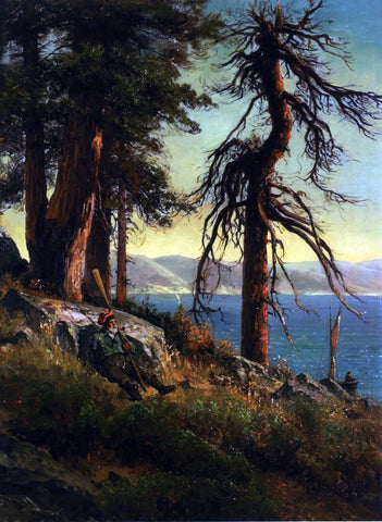 Thomas Hill Lake Tahoe (also known as A Man with an Oar Sitting on a Bluff) - Hand Painted Oil Painting