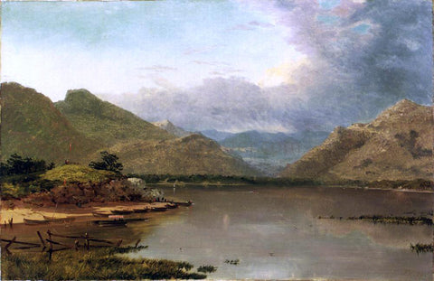 John Frederick Kensett Lake with Boaters - Hand Painted Oil Painting