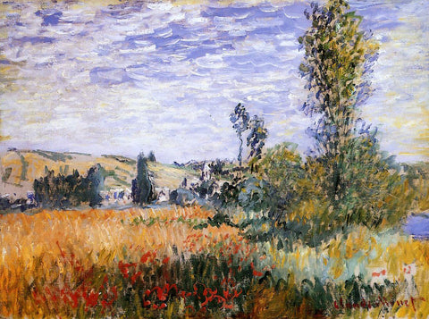 Claude Oscar Monet Landscape at Vetheuil - Hand Painted Oil Painting