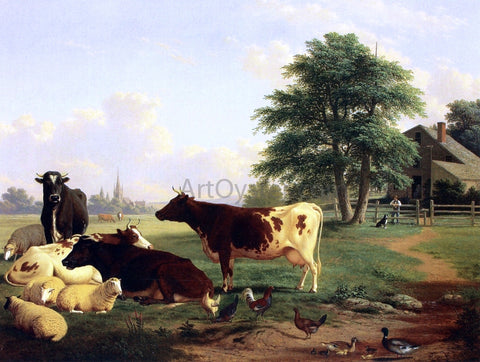 Thomas Hewes Hinckley Landscape,: Cattle, Woman, Boy and Newfoundland Dog - Hand Painted Oil Painting