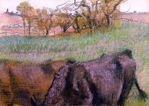 Edgar Degas Landscape: Cows in the Foreground - Hand Painted Oil Painting