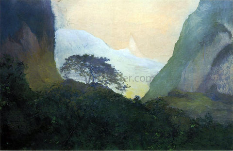 John La Farge Landscape, Evening, Tahiti, Pass and Peak of Vaiaroa, Taiarapu - Hand Painted Oil Painting