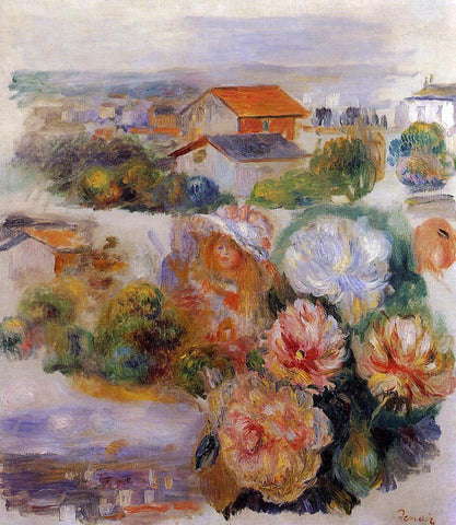 Pierre Auguste Renoir Landscape, Flowers and Little Girl - Hand Painted Oil Painting
