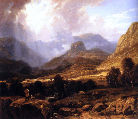 William Havell Landscape in the Lake District with the Vale of St. John between Thirlmere and Keswick - Hand Painted Oil Painting
