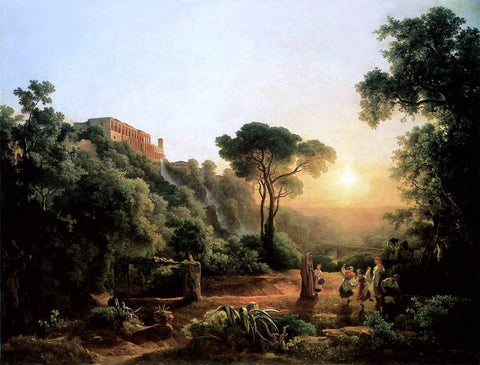 The Elder Karoly Marko Landscape near Tivoli with Vintager Scens - Hand Painted Oil Painting