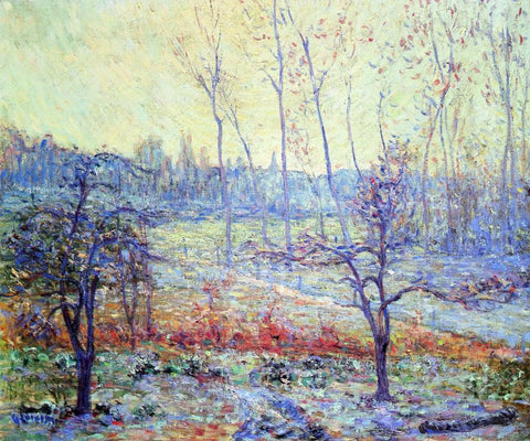 Gustave Loiseau Landscape of Givre in the Mist - Hand Painted Oil Painting