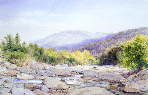 John William Hill Landscape: View on Catskill Creek - Hand Painted Oil Painting