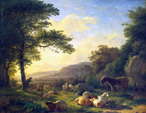 Balthazar Paul Ommeganck Landscape with a Flock of Sheep - Hand Painted Oil Painting
