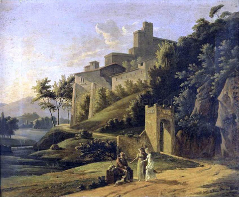 Jean Victor Bertin Landscape with a Fortress and a Beggar - Hand Painted Oil Painting