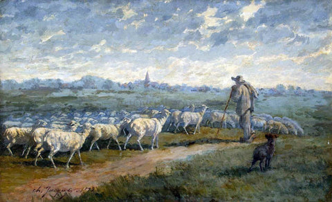 Charles Emile Jacque Landscape with a Herd - Hand Painted Oil Painting