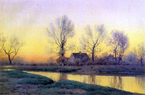 Henry Farrer Landscape with a House near a Lake - Hand Painted Oil Painting