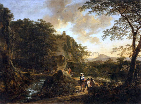 Jan Both Landscape with a Peasant Woman on a Mule - Hand Painted Oil Painting