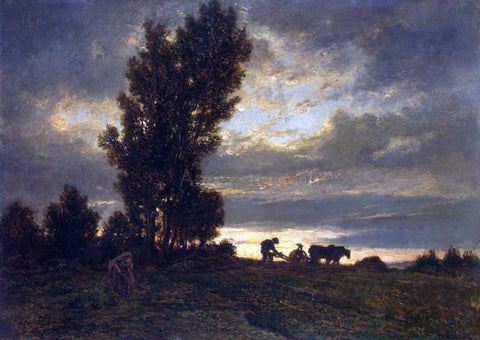 Theodore Rousseau Landscape with a Plowman - Hand Painted Oil Painting