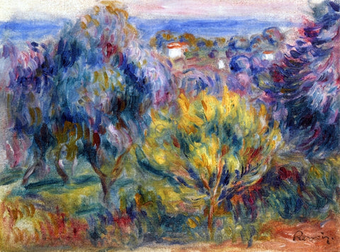 Pierre Auguste Renoir Landscape with a View of the Sea - Hand Painted Oil Painting