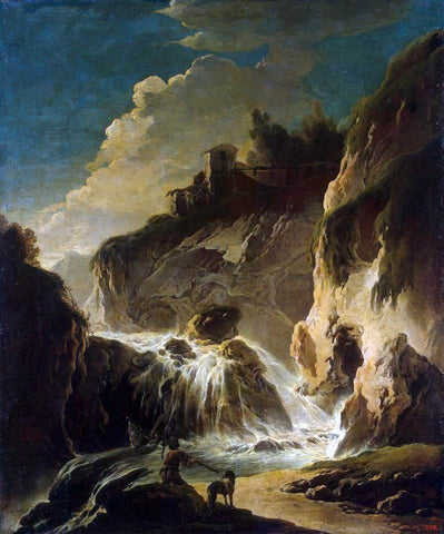 Philipp Peter Roos A Landscape with a Waterfall - Hand Painted Oil Painting
