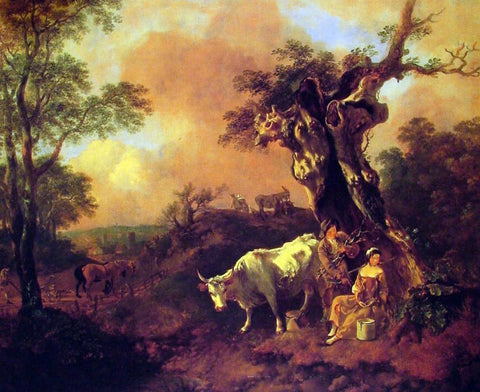 Thomas Gainsborough Landscape with a Woodcutter and Milkmaid - Hand Painted Oil Painting