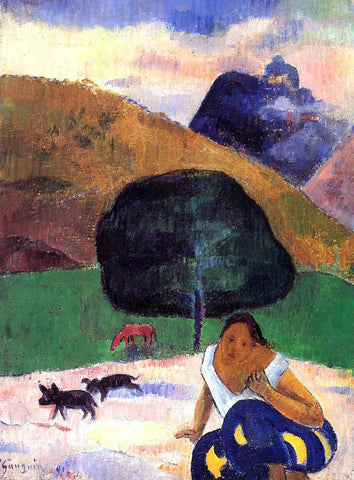 Paul Gauguin Landscape with Black Pigs and a Crouching Tahitian - Hand Painted Oil Painting